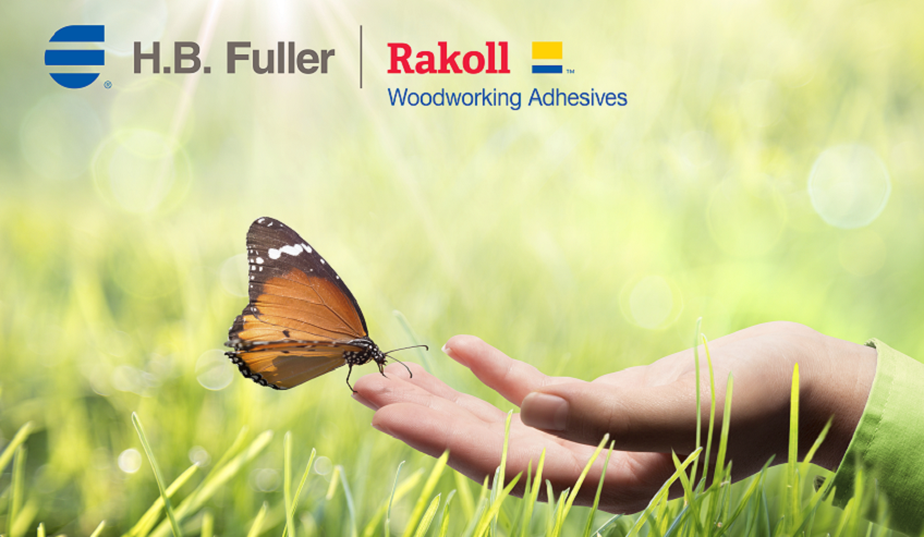 H.B. Fuller and Rakoll logo with a hand holding up a butterfly.